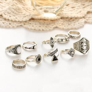 Faux Gemstone Alloy Feather Finger Ring Set -