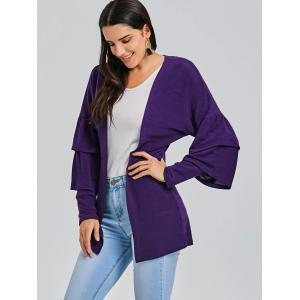 Open Front Bell Sleeve Tunic Cardigan -