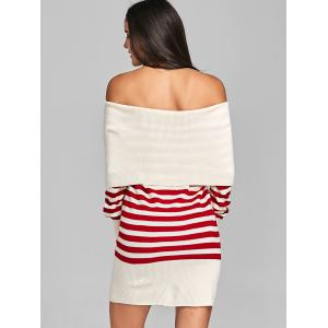 Striped Off The Shoulder Longline Sweater -