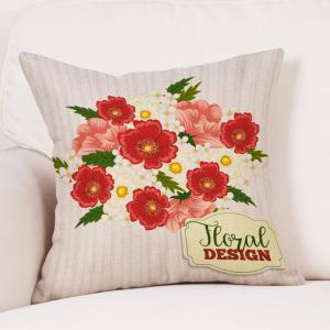 Flowers Print Valentine's Day Decorative Linen Pillowcase -