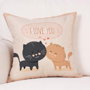 Cats Lovers Print Valentine's Day Decorative Linen Pillowcase -