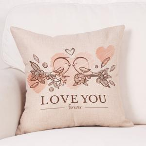 Valentine's Day Birds Lovers Print Decorative Linen Pillowcase -