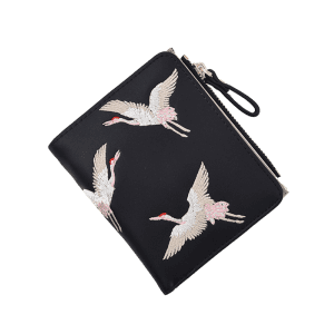 Bi Fold Birds Embroidery PU Leather Wallet -