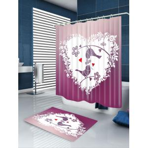 Heart Birds Printed Waterproof Valentine's Day Shower Curtain -
