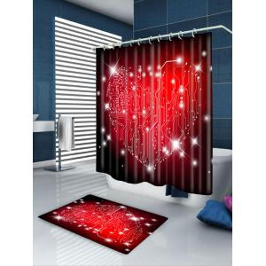 Waterproof Valentine's Day Heart Labyrinth Printed Shower Curtain -