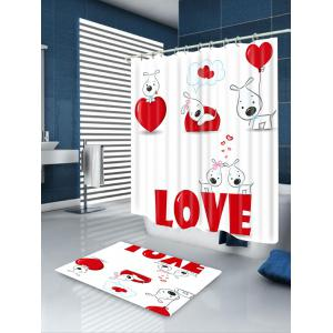 Valentine's Day Love Heart Puppies Printed Shower Curtain -