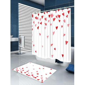 Heart of Love Patterned Bath Room Shower Curtain -