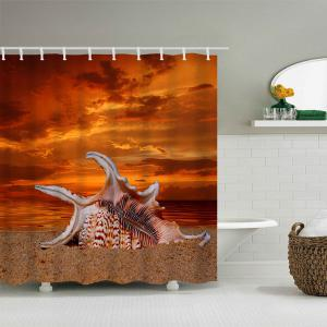 Beach Giant Shell Print Waterproof Polyester Shower Curtain -
