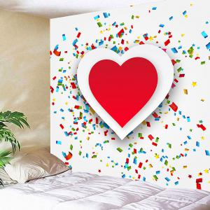 Wall Decor Valentine's Day Coloured Ribbon Heart Printed Hanging Tapestry -