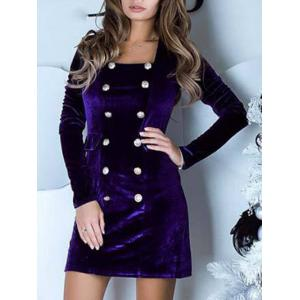 Double Breasted Velvet Bodycon Dress -
