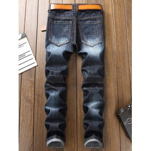 Panel Design Ripped Jeans -