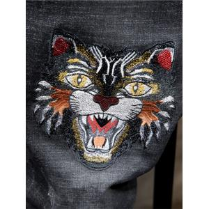 Tiger Embroidered Ripped Jeans -