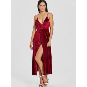 High Slit Velvet Backless Maxi Dress -