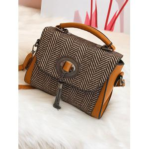 Zigzag Pattern Tassels Tweed Handbag -