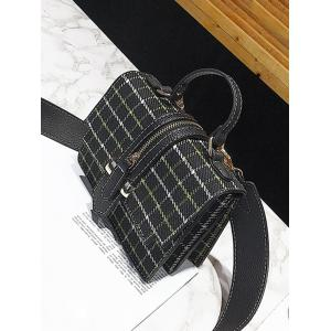 Zip Strap Checkered Tweed Crossbody Bag -