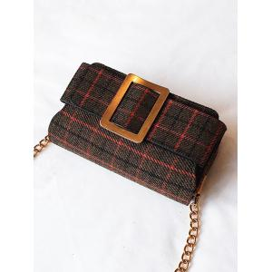 Color Block Plaid Buckle Strap Crossbody Bag -
