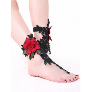 Flower Embroidered Lace Ankle Bracelet -