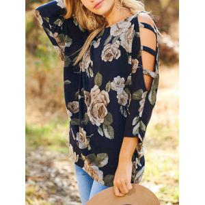 Ladder Cut Out Floral T-shirt -