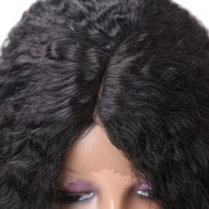 Long Center Parting Fluffy Afro Curly Synthetic Lace Front Wig -