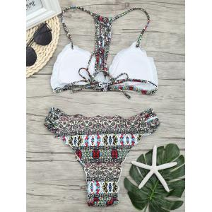 Micro Lattice Back Print Bikini Set -