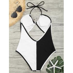 Cut Out Two Tone Backless Swimsuit -