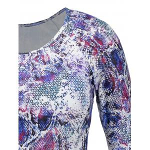 Long Sleeve Snake Print Plus Size Swimsuit -