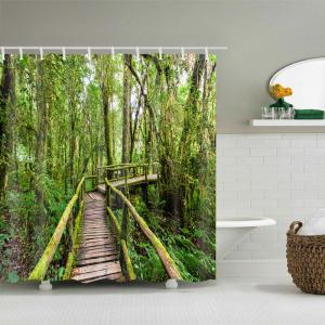 Forest Wooden Bridge Printed Waterproof Polyester Shower Curtain -