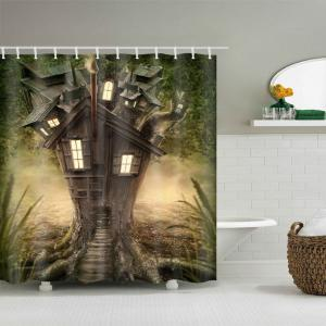 Fantasy Tree House Printed Waterproof Polyester Shower Curtain -