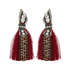 Tribal Geometric Faux Diamond Tassel Drop Earrings -