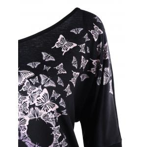 Butterfly Skull Print Skew Collar Top -