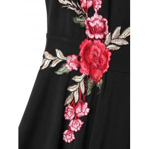 Embroidered Plunging Neckline Swing Dress -