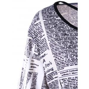 Plus Size Newspaper Lattice Neck Longline Tee -