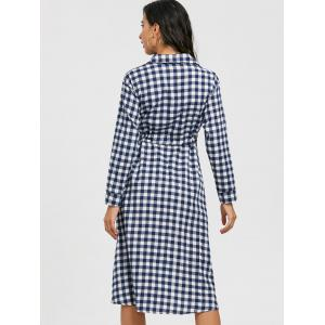 Long Sleeve Plaid Midi Shirt Dress -