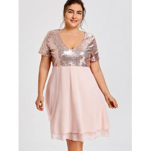 Glitter Plus Size Sequin Homecoming Dress -
