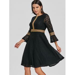 Embroidered Lace Bell Sleeve A Line Dress -