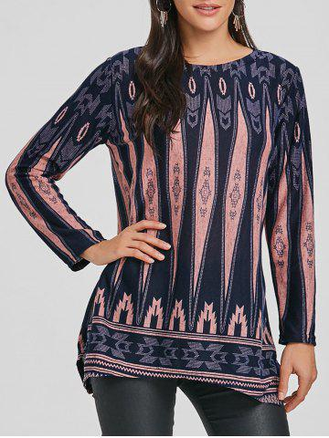 Buy Long Sleeve Geometric Print Tunic Knit Top