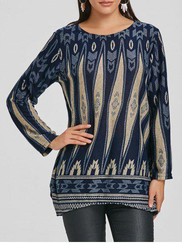 Hot Long Sleeve Geometric Print Tunic Knit Top