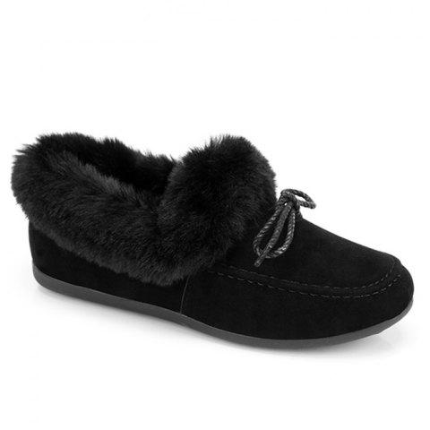 Hot Bowknot Front Faux Fur Collar Flat Shoes