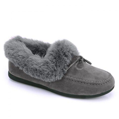 Shop Bowknot Front Faux Fur Collar Flat Shoes