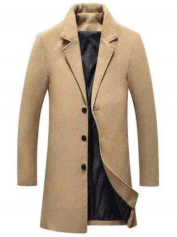 Online Single Breasted Wool Blend Coat with Side Pockets
