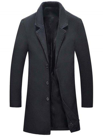 Trendy Single Breasted Wool Blend Coat with Side Pockets