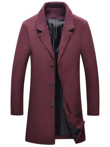 Single Breasted Wool Blend Coat with Side Pockets