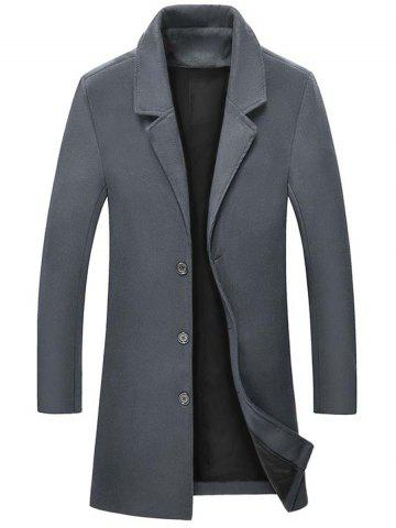 Discount Single Breasted Wool Blend Coat with Side Pockets