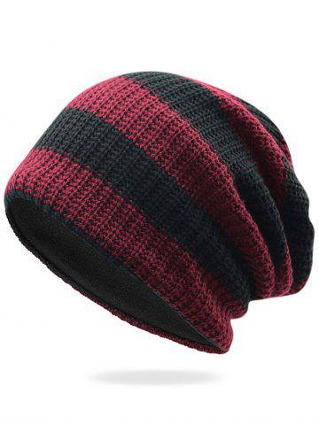 Cheap Striped Pattern Embellished Crochet Knitted Beanie