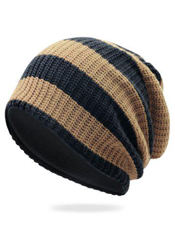 Shop Striped Pattern Embellished Crochet Knitted Beanie