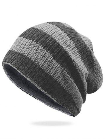 Fashion Striped Pattern Embellished Crochet Knitted Beanie