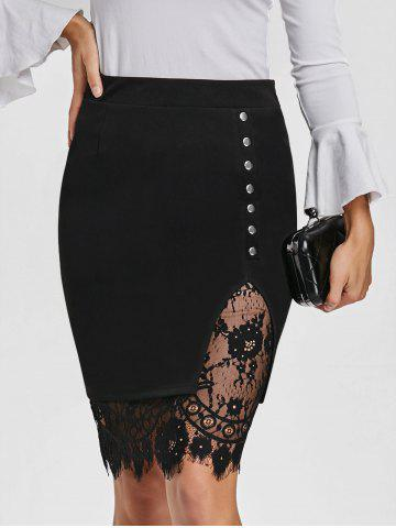 Chic Eyelash Lace Trimmed Slit Bodycon Skirt