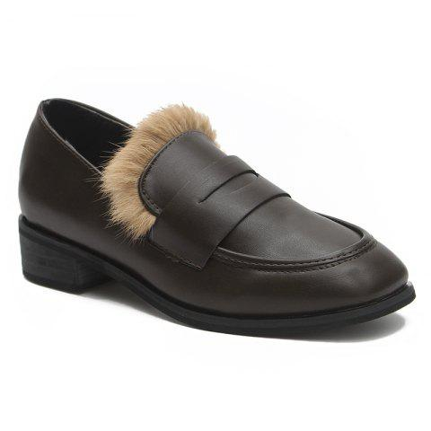 Cheap Square Toe Faux Fur Trim Loafers
