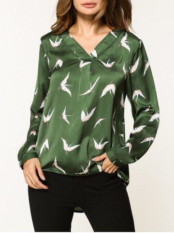 New V Neck Birds Pattern Shirt