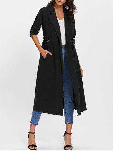 New Drawstring Waist Lapel Longline Coat